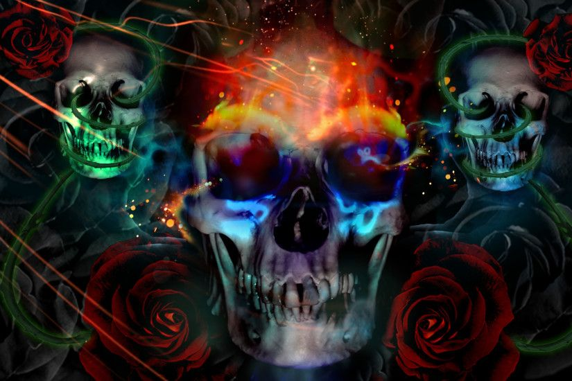 1920x1200 Animated Background Images | Green Skull Wallpaper | Animation .