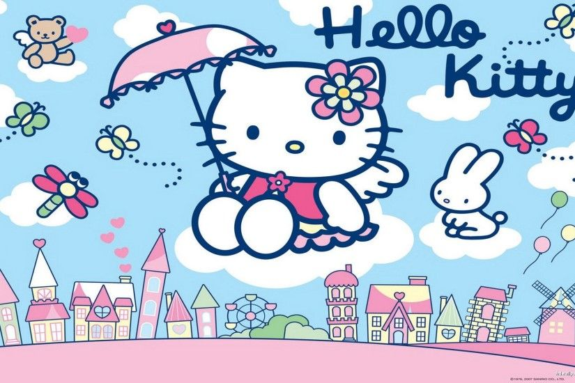 Blue and pink Hello kitty wallpaper