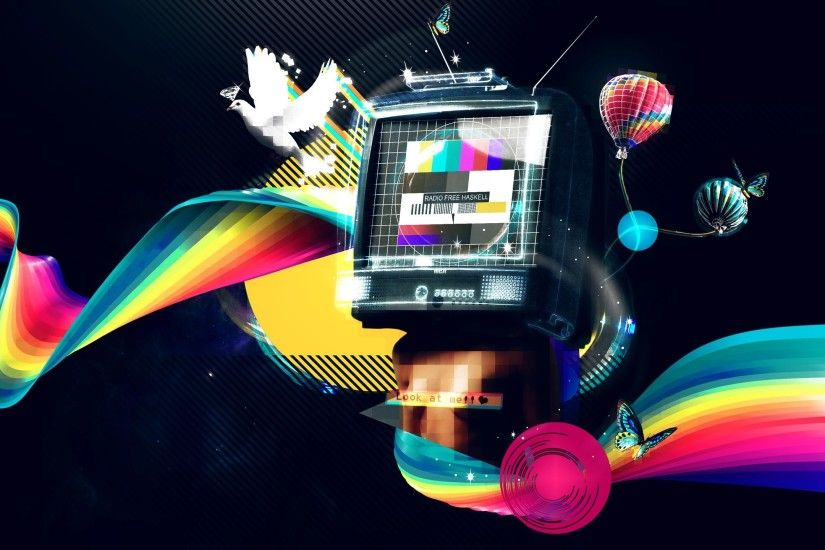 ... television surrounded by a rainbow HD Wallpaper 2560x1440