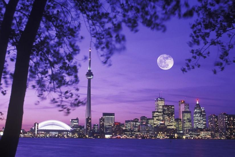 Toronto Skyline Night Moon Scenery Canada Wallpaper Pixel) 18211 -  Photoinpixel: HD Background Picture And Wallpaper
