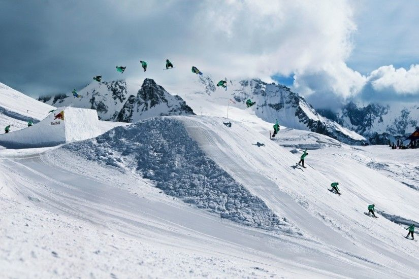 Preview wallpaper snowboarding, red bull, trick, quiksilver 1920x1080