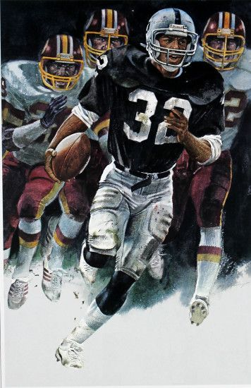 Marcus Allen, Oakland Raiders. Painting by Merv Corning
