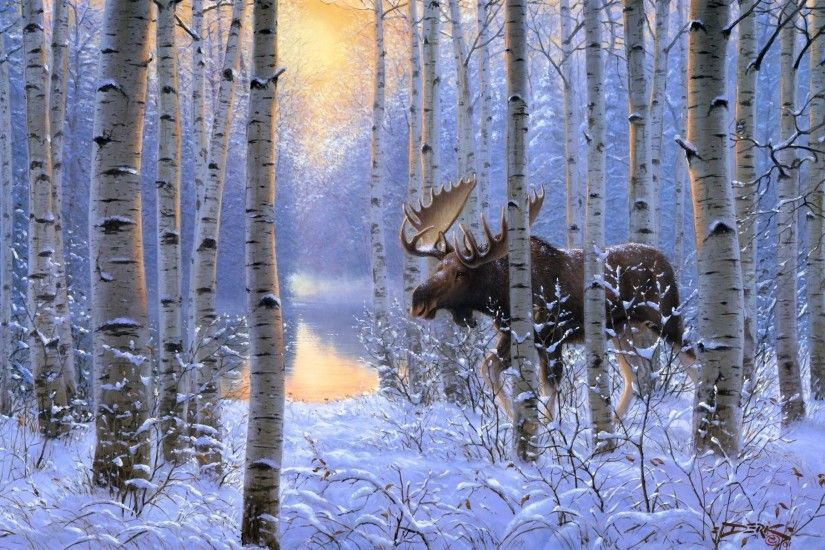 derk hansen on the move painting winter snow animals forest moose