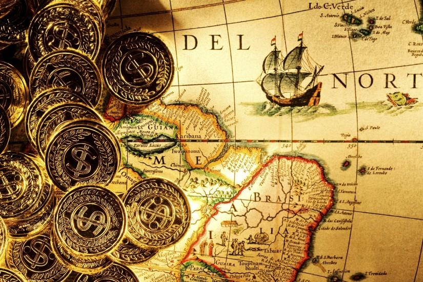 ... coins money dollars ingots fantasy pirate maps ships detail paper  islands land ocean sea sail direction shine world color degrees wallpaper  background