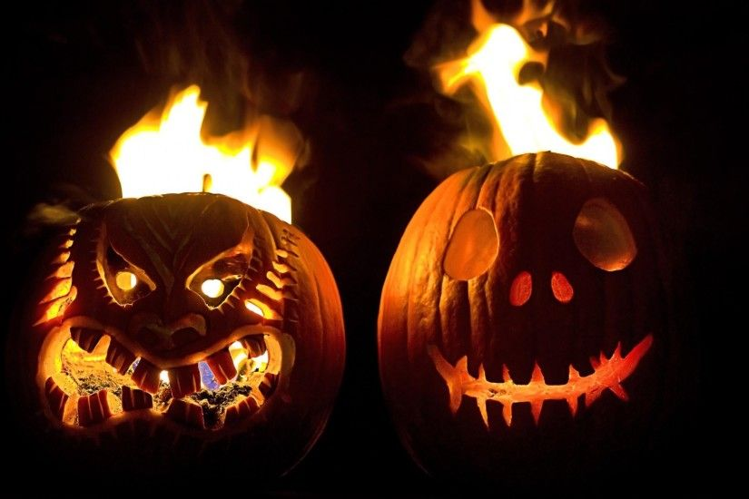 Preview wallpaper halloween, holiday, pumpkin, faces, steam, fire, black  background