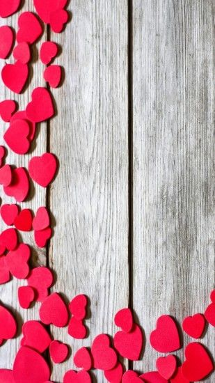 iPhone Wallpaper Red Hearts Wooden Background resolution 1080x1920