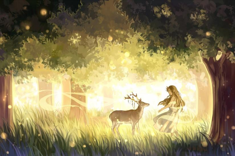 Anime - Original Anime Deer Forest Girl Brown Hair Dress Long Hair Wallpaper