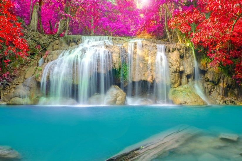 Earth - Waterfall Nature Rock Forest Tree Leaf Fall Red Pink Water  Turquoise Wallpaper