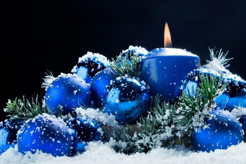 Blue Christmas Ornaments Wallpaper Free HD - ToObjects.