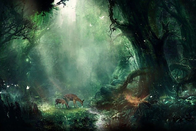 Preview wallpaper jungle, fantasy, deer, butterflies, night, trees 1920x1080