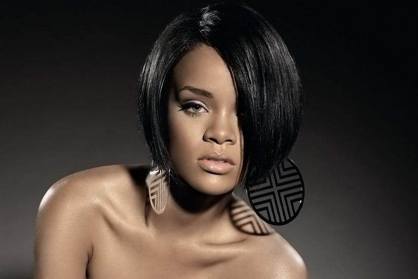 Preview wallpaper rihanna, face, shoulders, earrings, brunette 1920x1080