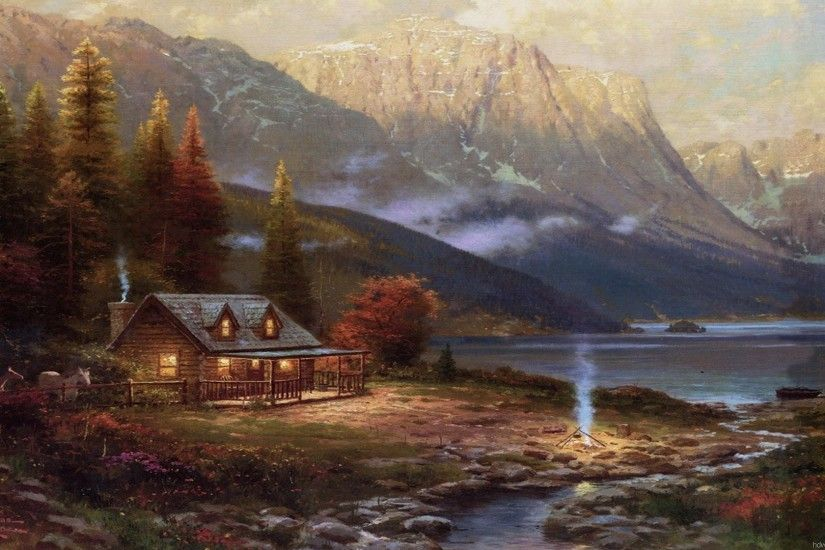 thomas kinkade painting wallpaper paintings art desktop thomas kinkade .