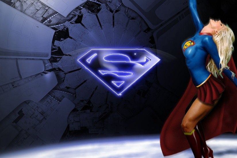 Free supergirl with superman logo wallpaper background