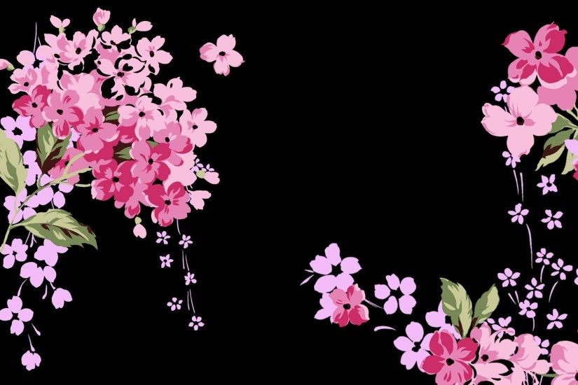 Pink Explosion Flowers Floral Abstract Black Landscape Wallpapers Detail