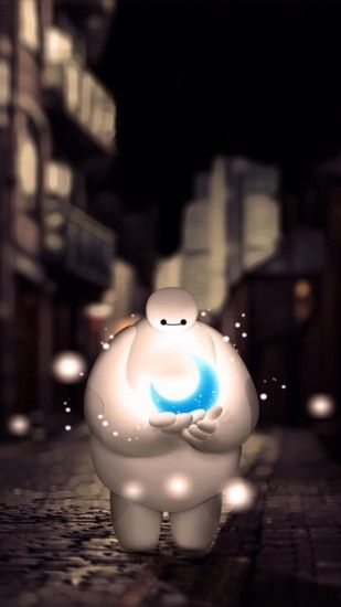 Baymax Holding Moon Dreamy Bokeh iPhone 6 wallpaper