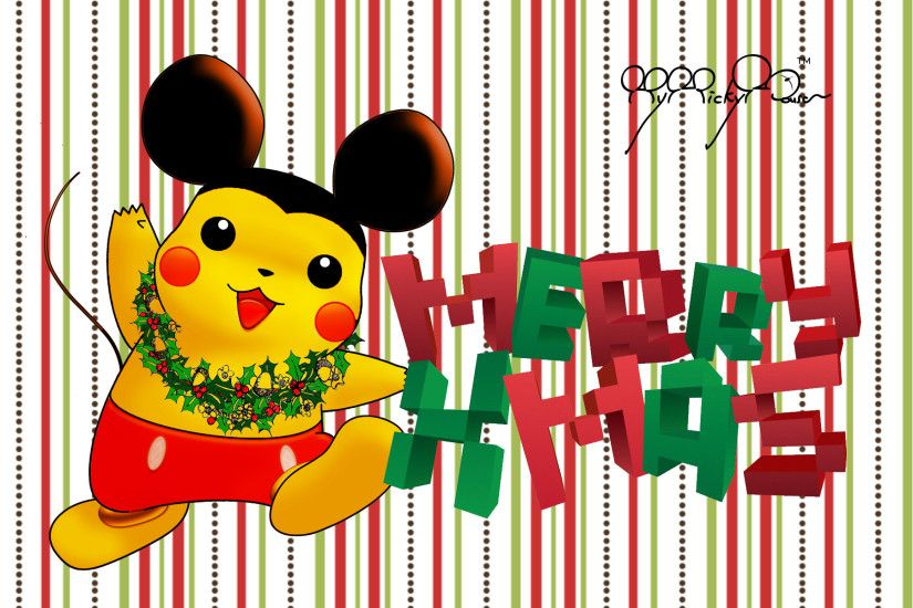 ... Merry Christmas wallpaper Pikachu Mickey 1920 px by mymickymouse