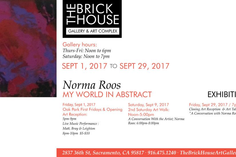 "Art Exhibition: September Artist ""Norma Roos"", My World In Abstract Art  Exhibition"