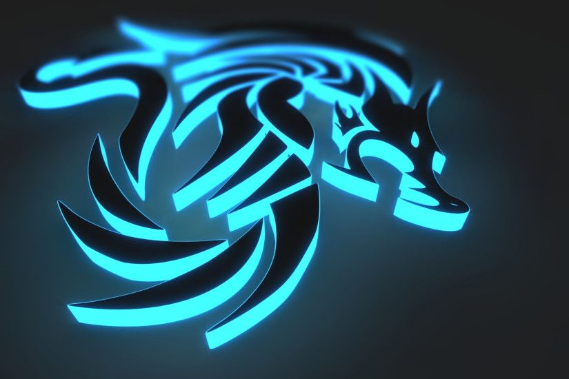 Abstract - 3D CGI Digital Abstract Animal Wolf Blue Dark Black Glow  Wallpaper