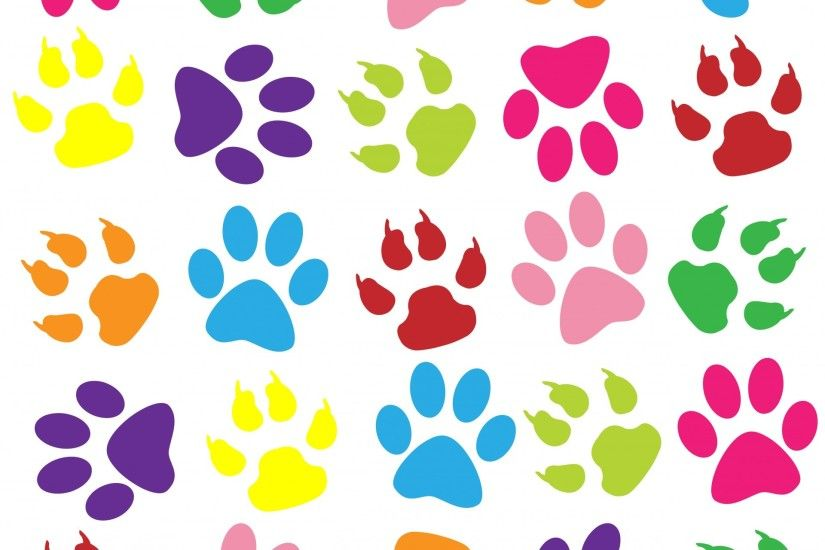 Paw Prints Colorful Background