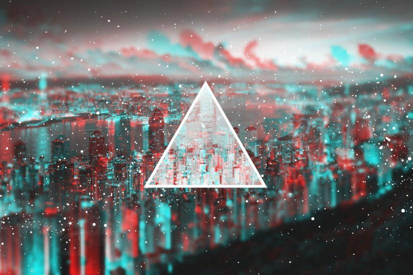 3D, Anaglyph 3D, Cityscape, Triangle Wallpaper HD