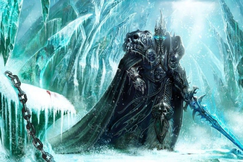 Preview wallpaper world of warcraft, lich king, sword, cold, snow, chain