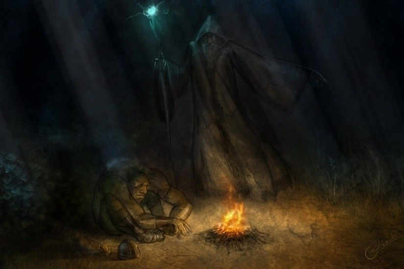 mage trees fantasy art magician hooded campfire 1920x1080 wallpaper Art HD  Wallpaper