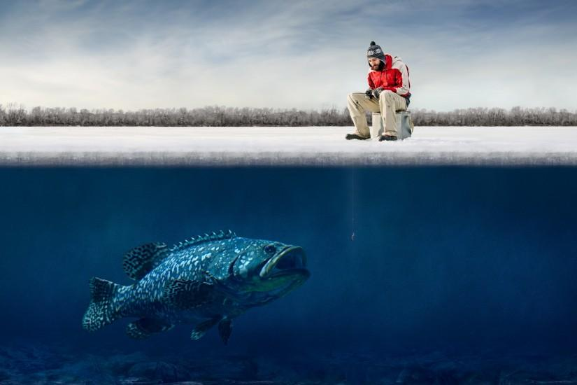 funny guy ice big fish Hooks humor fisherman winter fishing g wallpaper