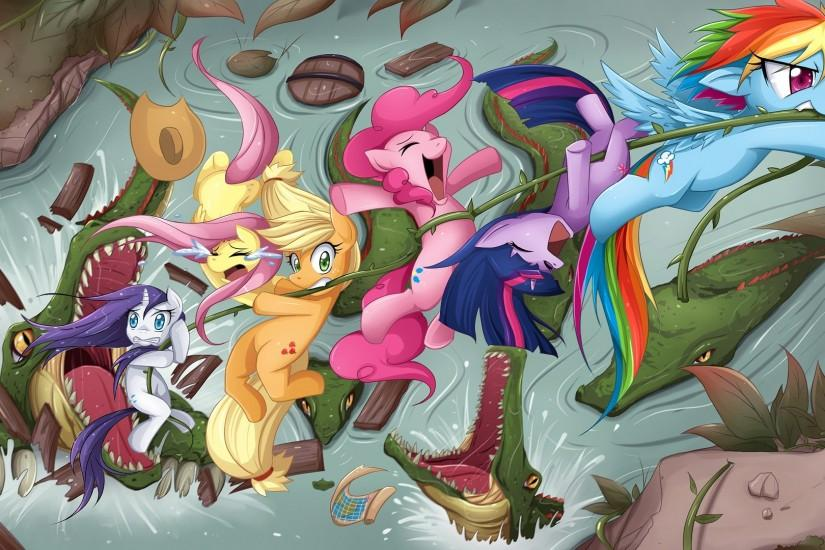 Alligators Fluttershy ponies Rainbow Dash Twilight Sparkle Rarity Pinkie  Pie Applejack My Little Pony: Friendship is Magic Mane 6 wallpaper |  1920x1080 ...