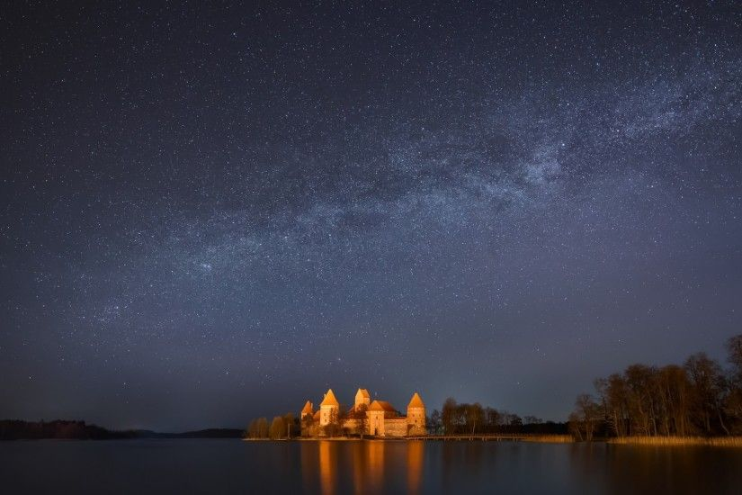 Preview wallpaper lithuania, trakai, lake, trees, night, sky, stars,