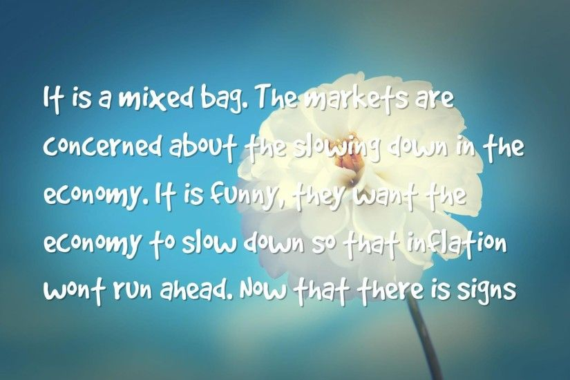 economy, strong Quotes Wallpapers - It's a mixed bag. The markets are  concerned about the slowing down in the economy. It's funny, they want the  economy to ...