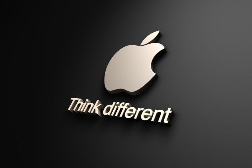 apple logo 3d black image wallpaper