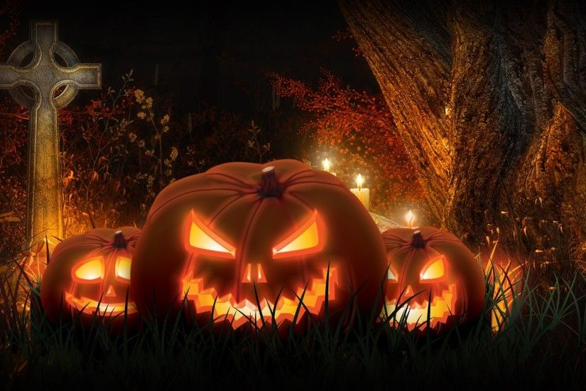Halloween scary spooky cemetery pumpkins wallpaper background