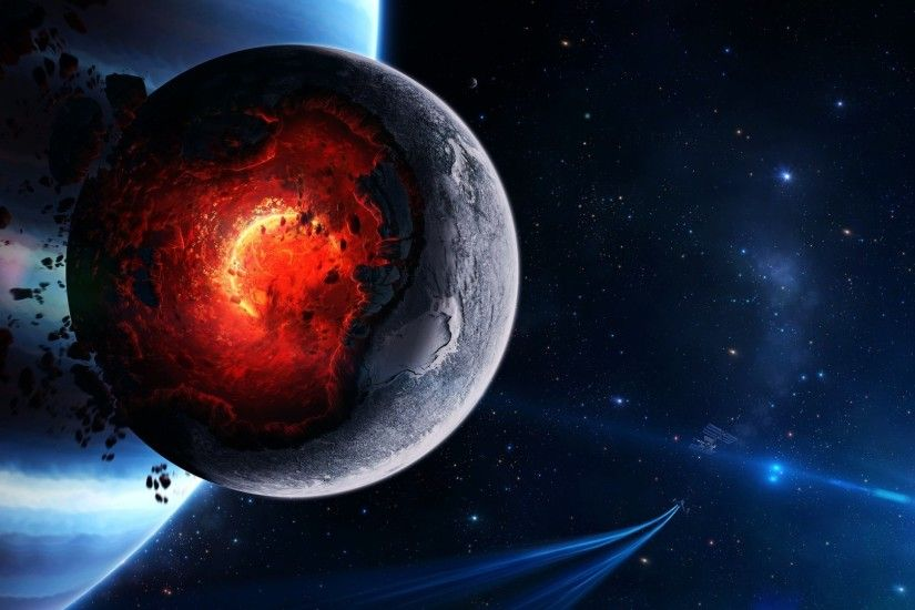1920x1080 Preview wallpaper space, cataclysm, planet, art, explosion,  asteroids, comets