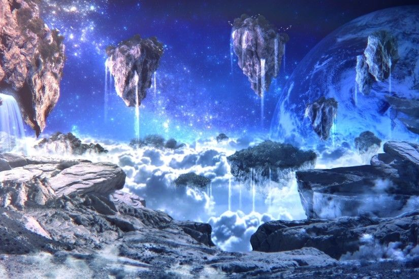 1920x1080 - sci-fi, landscape, floating islands, planet, rocks, waterfalls