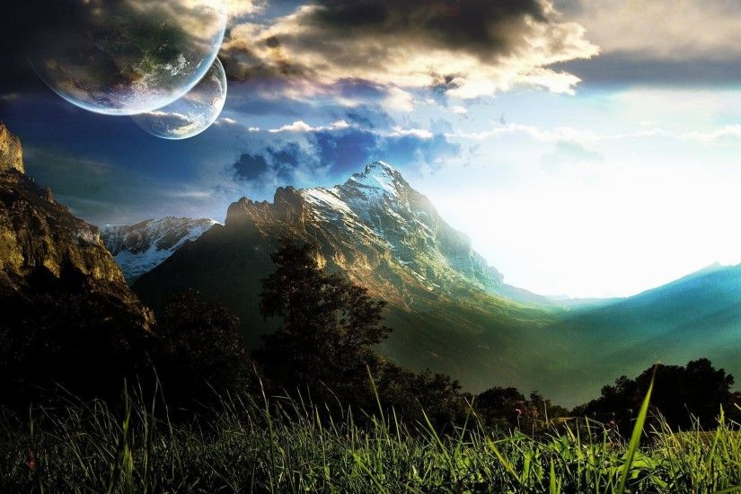 wallpaper.wiki-Twin-Moons-Alien-Planet-Wallpaper-PIC-