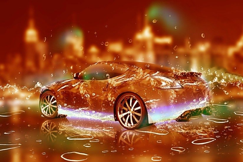 3D water car desktop wallpaper.