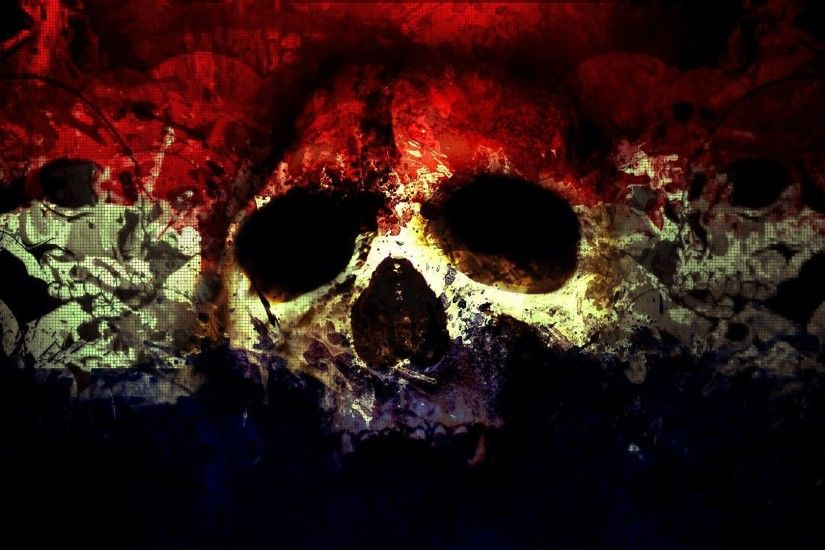 2048x2048 Preview wallpaper skull, abstract, bright, background 2048x2048