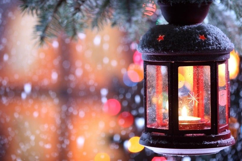 1920x1080 Wallpaper candle, torch, branch, snow, winter, snowflakes,  christmas tree
