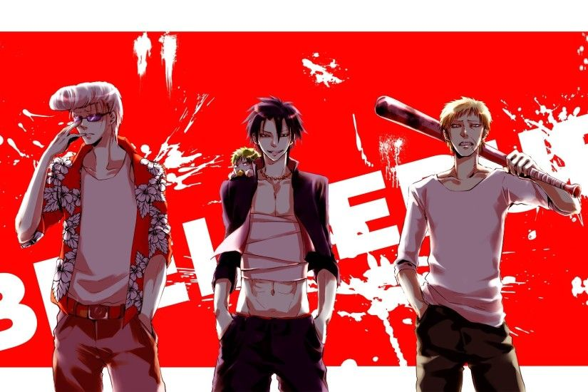 Preview wallpaper beelzebub, guys, posture, smile, weapons 1920x1080