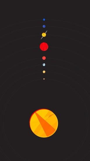 Solar System Flat Minimal Illustration iPhone 6+ HD Wallpaper