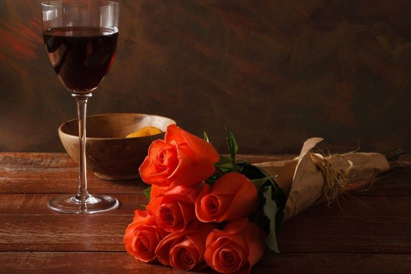 ... Roses and wine on the table