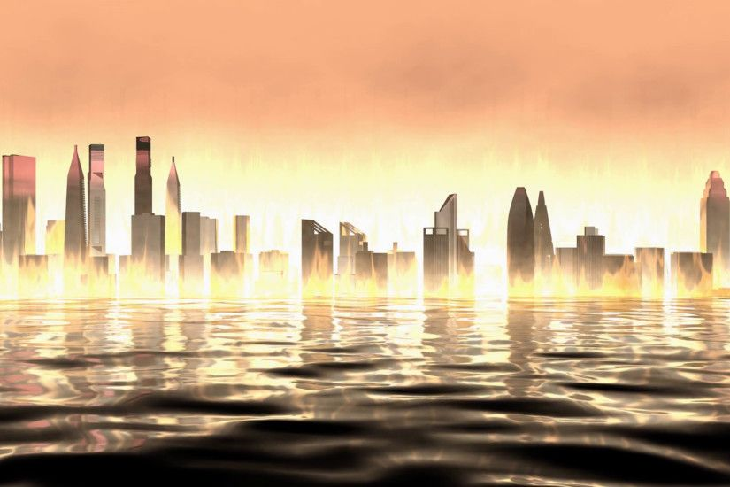 Artist rendering, burning city view background. Motion Background -  VideoBlocks
