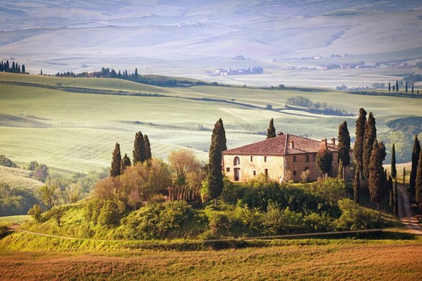 Preview wallpaper italy, tuscany, summer, countryside, landscape, nature,  trees,