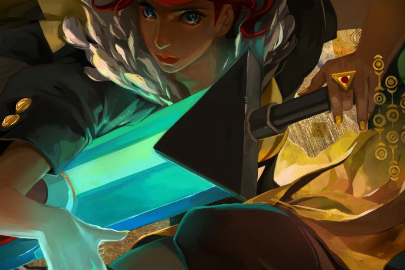 2048x2048 Wallpaper transistor, tactic, girl, art
