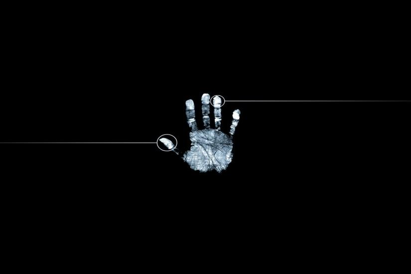 Wallpaper 1920x1080 Fingerprint Hand Black White Full HD 1080p