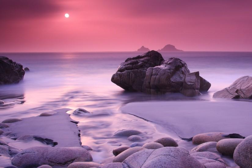 1479 3: Evening Calming Rock Ocean Sea Landscape iPad Air wallpaper