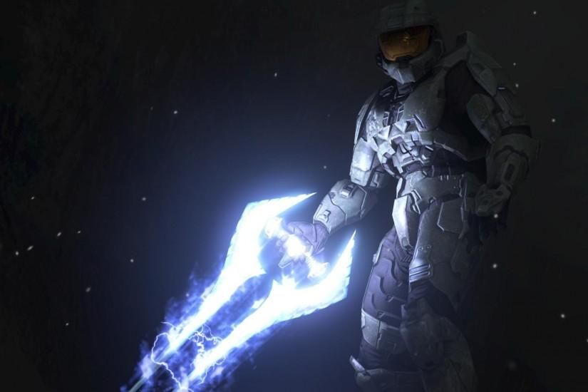 Preview wallpaper halo, magic, sword, armor, light 1920x1080