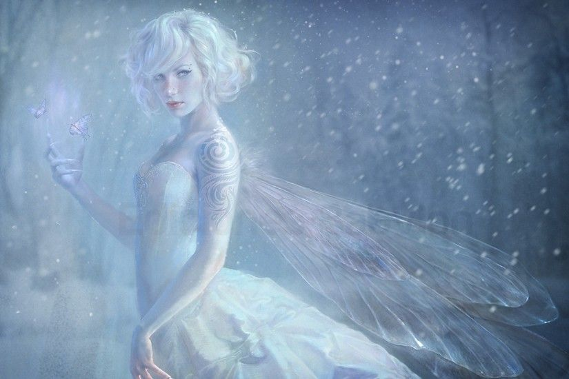 ... fairies, fantasy girl wallpaper, digital art, wings, snow, fairy,  butterfly