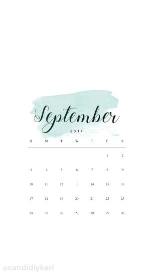 Sage green watercolor September calendar 2017 wallpaper you can download  for free on the blog!