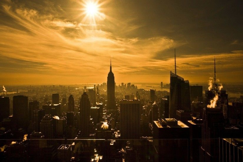 Wallpaper new york, skyscrapers, sun, sepia wallpapers city - download